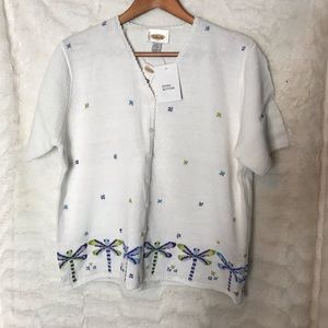NWT Women Talbots Linked and Stitched Top